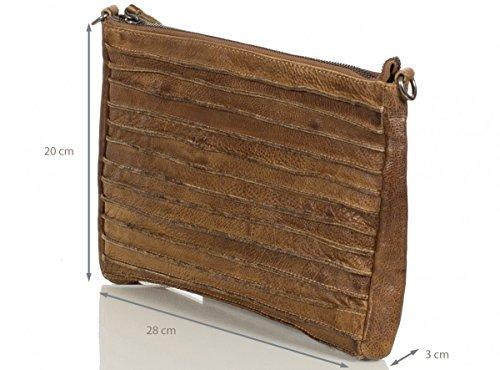 FredsBruder Riffel Crossbody Umhängetasche Leder 28 cm, Beige, ca. 19,5 x 4 x 12 cm (B x T x H)