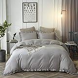 HYPREST Grey Queen Duvet Cover Set Micorfiber Lightweight Soft Solid Color 3Pcs Bedding Set with Exquisite Flouncing Light Grey(Not Including Comforter)