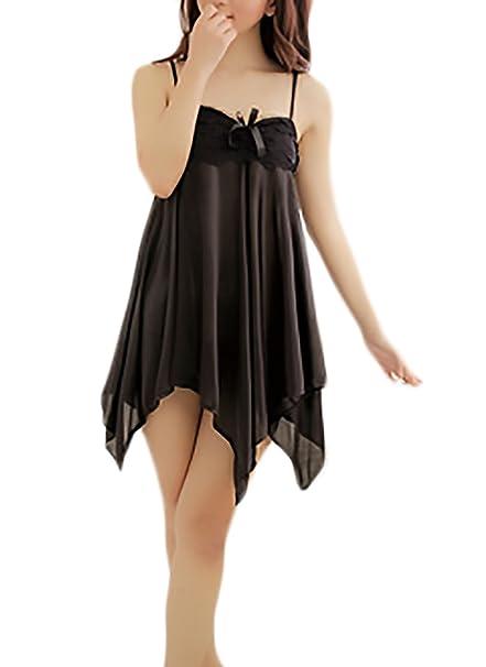 Adelina Pijamas Mujer Lenceria con Encaje Halter Irregular Dobladillo Ropa Interior Tentación Verano Camisones Vestido Ropa
