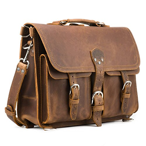 Saddleback Leather Thin Front Pocket Briefcase - 100% All Leather Laptop Bag (Saddleback Leather Bag)