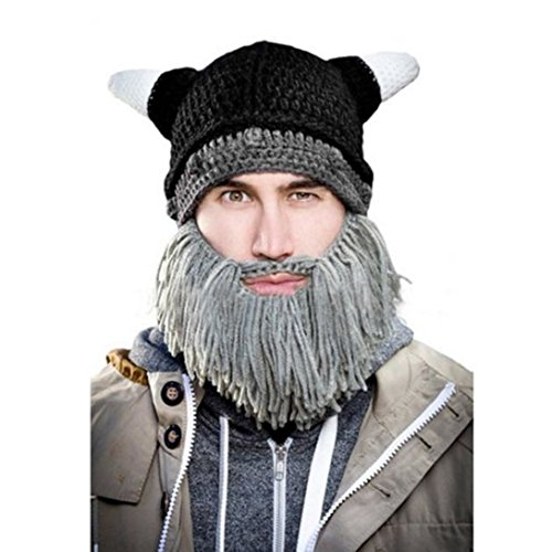Clearance! Creative Men's Beard Wig Hats Handmade Knit Cap (Fleece Clearance)