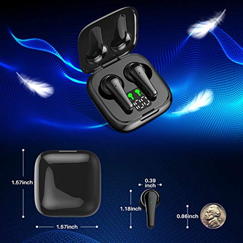 BiFee Wireless Earbuds, [Upgraded] Bluetooth V5.2 Headphones in-Ear Stereo IPX5 Waterproof Wireless Headphones 25 Hours Playing Time with Touch Control,Built-in Mic Single/Twin Mode (Black)