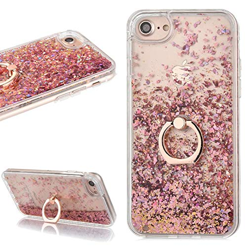Liquid Glitter Rose Gold Case for iPhone 6 Plus 6S Plus with Ring Holder Stand Bling Sparkle Quicksand Floating Flowing Waterfall Gradient Hearts Clear Crystal Hard Plastic Cover for Girls Woman ()