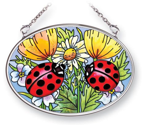 Amia Oval Suncatcher with Ladybug Design, Hand Painted Glass, 4-1/4-Inch by 3-1/4-Inch