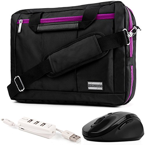 EL Prado 3-in-1 Hybrid Purple Trim Laptop Bag w/ Wireless Mouse and USB HUB for Dell Inspiron / Latitude / Alienware / XPS / Precision Mobile Workstation 14