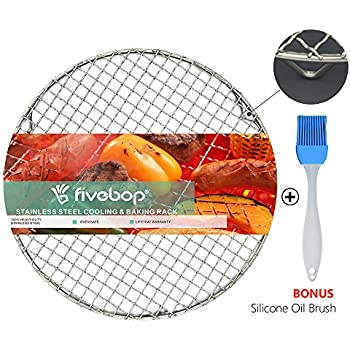 Fivebop Multi-Purpose Stainless Steel Cross Wire Round Steaming Cooling Barbecue Racks/Carbon Baking Net/Grills/Pan Grate with 3 Legs (11 inches)