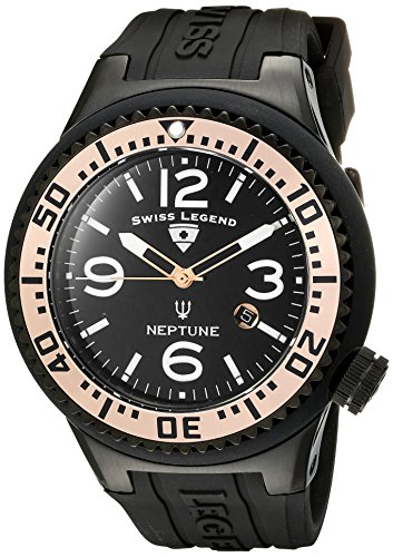 Swiss Legend Men's 21818P-BB-01-RA Neptune Black Dial Silicone Watch - Swiss Legend Rose Gold Tone Watch