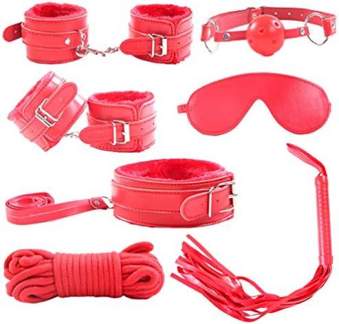 Exceart BDSM Kit Bondage Fesseln Plüsch PU Leder Fesseln Spielzeug für Liebhaber Erwachsene Paare (Rot)