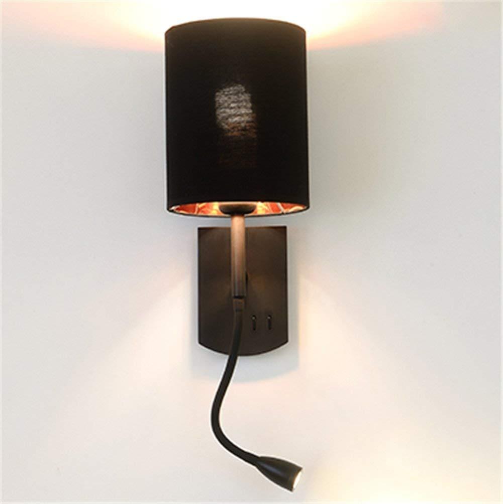 Applique Murale Int/érieur Chambre Lampe De Chevet Salon Moderne Abat-Jour En Lin Lampe De Fer Noir Avec Interrupteur Et Flexible Led Liseuse