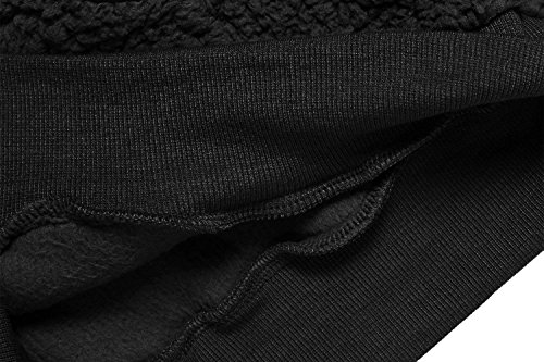 ACEVOG Abrigo Pelo Sudadera Deportiva Forro Polar con capucha para Mujer Negro