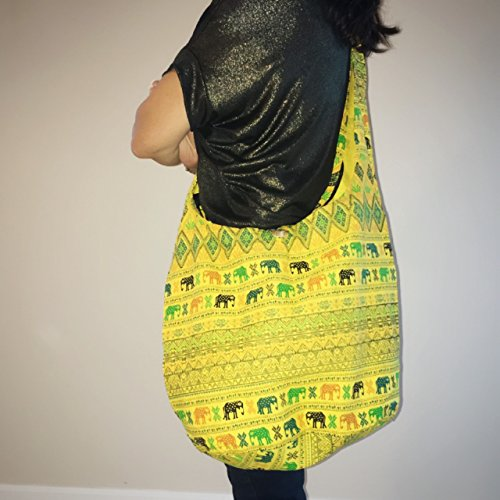 49ers Petite Purse (Kraft4Life Hippie Elephant Sling Crossbody Bag Shoulder Bag Purse Thai Top Zip Handmade New +FREE GIFT (001))