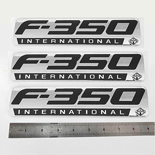 3pcs OEM F-350 International Emblem Badge 3D Logo Side Fender Rear Replacement for F350 Pickup Chrome Black