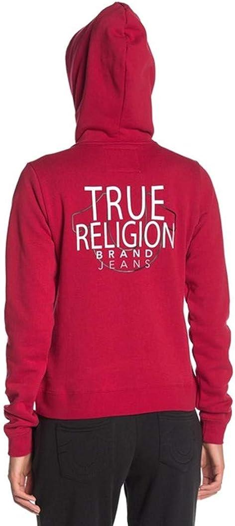 True Religion Damen Tr Long Sleeve Zip Up Hoodie Kapuzenpulli Rubinrot