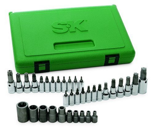 SK 19763 35-Piece 1/4-Inch, 3/8-Inch and 1/2-Inch Drive TORX Bit Socket SuperSet by SK Hand Tool