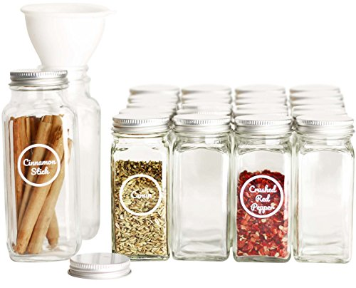 SpiceLuxe Premium Spice Jar Set -26 Empty Square Glass Jars, Silver Metal Airtight Lids, 100 Spice Labels, Easy Pour Funnel, and Shaker Tops - Decorative Containers Organize Your Spice Rack or Pantry