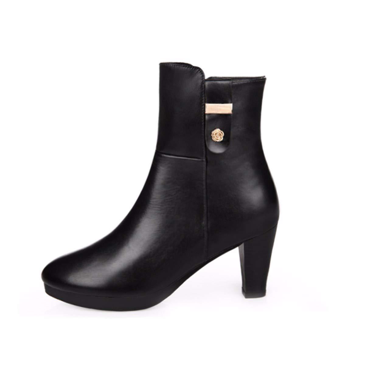 HBDLH Damenschuhe Damenschuhe In Herbst und Winter Starke Wurzeln Kurze Stiefel Schuhe Stiefel Wild High Heels 7Cm