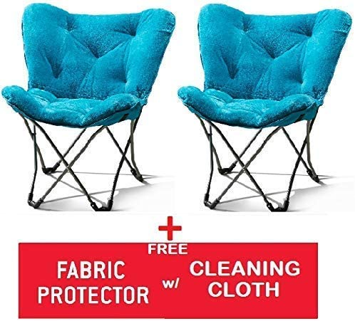 Faux-Fur Saucer Chair Mainstay. Aqua Wind + Freebies, Faux Fur