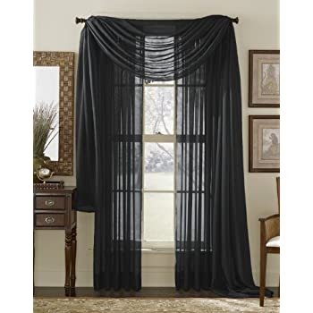 This Item 3 Piece Black Sheer Voile Curtain Panel Set: 2 Black Panels And 1  Scarf