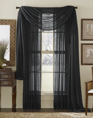 (3 Piece Black Sheer Voile Curtain Panel Set: 2 Black Panels and 1 Scarf)