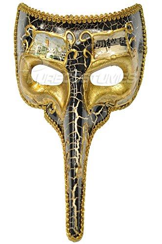 Pure Seasons Baroque Musical Nasone Mask (Black)-Standard (Carnavale Costumes)