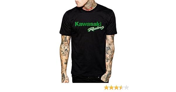Kawasaki Racing Team para Moto Motorista de para Hombre Negro Camiseta de algodón: Amazon.es: Ropa y accesorios