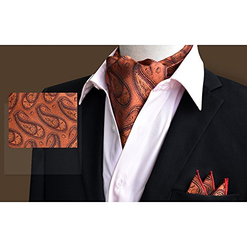 Wedding Brown Silk Set Ascot Elegant Tie Business Paisley Men's Handkerchief Xlj Floral 20 YCHENG vw0Otxq6w