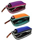 [3 PACK], JAVOedge Double Eyeglass Case Fits 2 Frames in Soft Felt Zipper and Pouch Style Storage with Microfiber Cloth