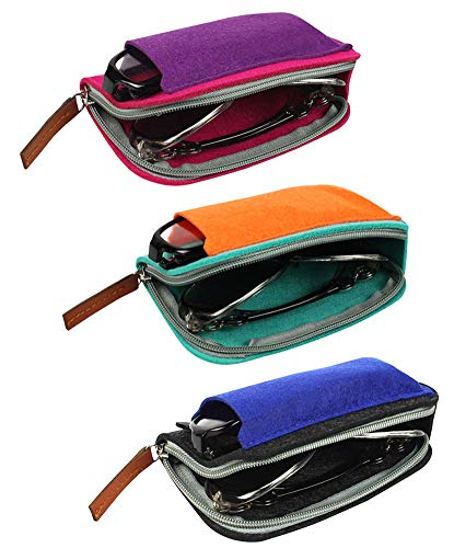 ([3 PACK], JAVOedge Double Eyeglass Case Fits 2 Frames in Soft Felt Zipper and Pouch Style Storage with Microfiber Cloth )