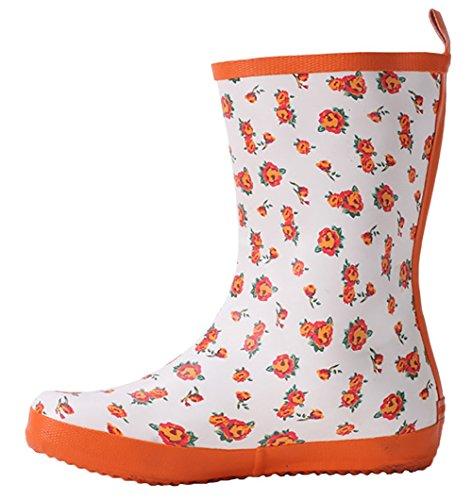 Mewow Daily Womens Girls Cute Floral Mid Calf Waterproof Rain Boot Anti-Skidding Pink