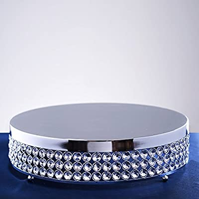 "Tableclothsfactory Grand Wedding Beaded Crystal Metal Cake Stand - 15.5"" Diameter"