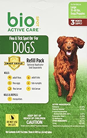 Bio Spot Active Care Flea & Tick Spot On for Large Dogs (31-60 lbs.) 3 Month Refill (Dog Flea Heartworm)