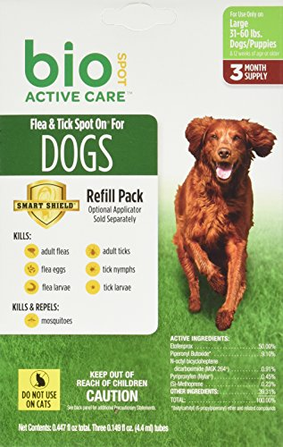 Bio Spot Active Care Flea & Tick Spot On for Large Dogs (31-60 lbs.) 3 Month Refill by Bio Spot