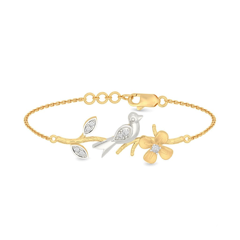 identification-bracelets Size 18K Yellow Gold 7 inches IJ| SI 0.115 cttw Round-Cut-Diamond