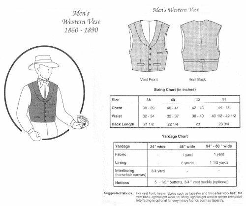 1860-1890 Men's Western Vest Pattern