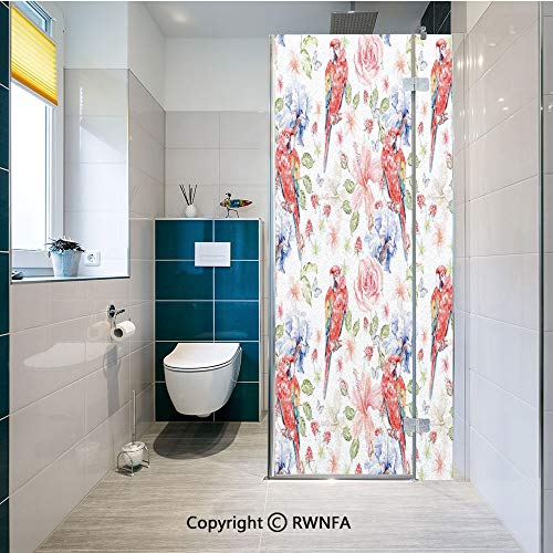 Window Door Sticker Glass Film,Pastel Colored Parrots with Iris and Roses on Berry Background Retro Inspired Romantic Image Anti UV Heat Control Privacy Kitchen Curtains for Glass, 17.7 x 47.2 inch,M (Clear Rose Colored Glass)
