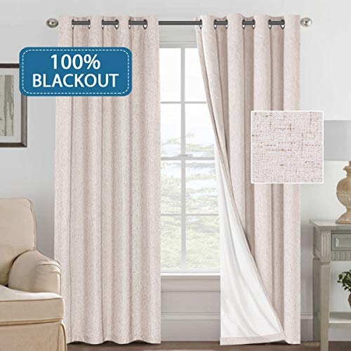 H.VERSAILTEX Curtains 100% Blackout Draperies for Patio, Linen Look Blackout Curtains for Bedroom Extra Long 108 Inches Grommets Window Curtain Panels Natural Color, 2 Panels (Length 108 Window Panels)