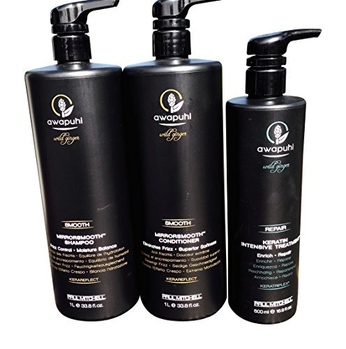 Paul Mitchell Mirror Smooth Awapuhi Wild Ginger Frizz Control Shampoo (Liter) and Conditioner (Liter) Duo and 16.9 Paul Mitchell Intensive Treatment Total 3 Items