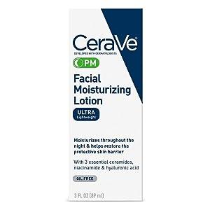 CeraVe Facial Moisturizing Lotion PM | 3 Ounce | Ultra Lightweight, Night Face Moisturizer | Fragrance Free