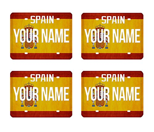 BleuReign(TM) Personalized Custom Name License Plate Spain Country Flag Set of 4 Square Coasters by BleuReign