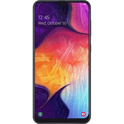Simple Mobile Carrier-Locked Samsung Galaxy A50 4G LTE Prepaid Smartphone – Black – 64GB – Sim Card Included – GSM