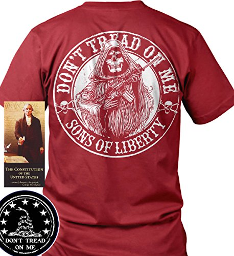 Sons of Libery Don't Tread on Me Reaper AR-15. Red/LRG T-Shirt. Made in USA by Sons Of Liberty