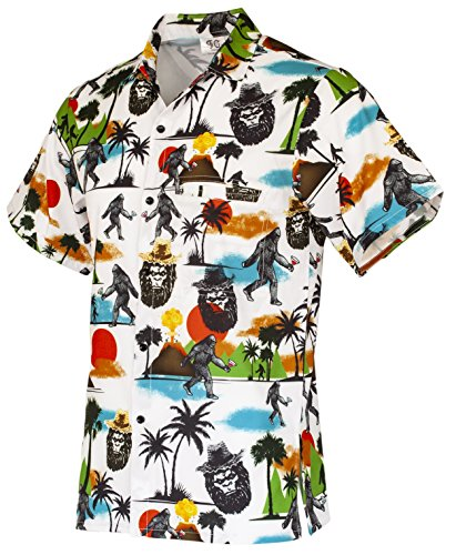 Funny Guy Mugs Mens Bigfoot Hawaiian Print Button Down Short Sleeve Shirt, (Family Guy Halloween Girls)