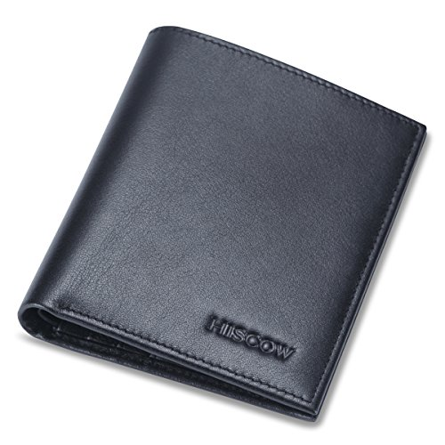 HISCOW Thin Bifold Wallet with 6 Credit Card Slots Black - Italian Calfskin ()
