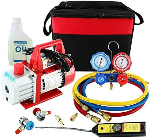[해외]YaeTek 4CFM 13HP Rotary Vane Air Vacuum Pump HVAC AC Refrigeration Kit AC Manifold Gauge Set wLeak Detector R410a R134a R12 R22 R404 / YaeTek 4CFM 13HP Rotary Vane Air Vacuum Pump HVAC AC Refrigeration Kit AC Manifold Gauge Set wLe...