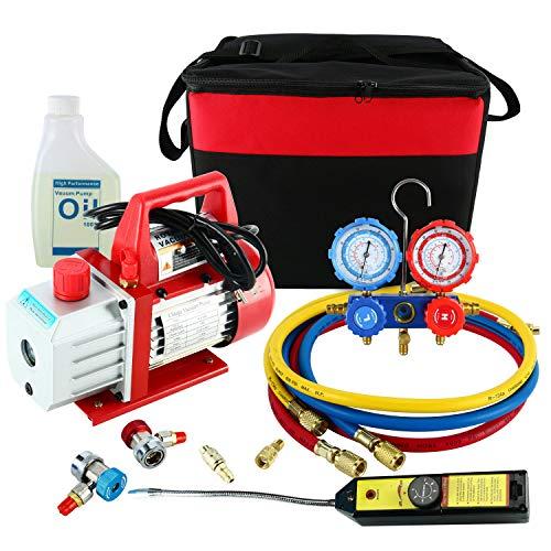 (YAETEK 4CFM 1/3HP Rotary Vane Air Vacuum Pump HVAC A/C Refrigeration Kit AC Manifold Gauge Set w/Leak Detector R410a R134a R12 R22 R404)