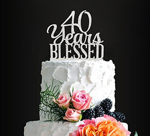 (Silver Acrylic Custom 40 Years Blessed Cake Topper, 40th Birthday Cake Topper, 40th Wedding Anniversary Cake Topper (40 bless))