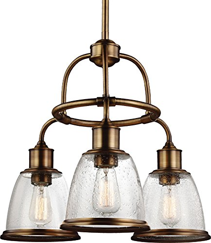 (Feiss F3020/3AGB Hobson Glass Chandelier Lighting, Brass, 3-Light (22