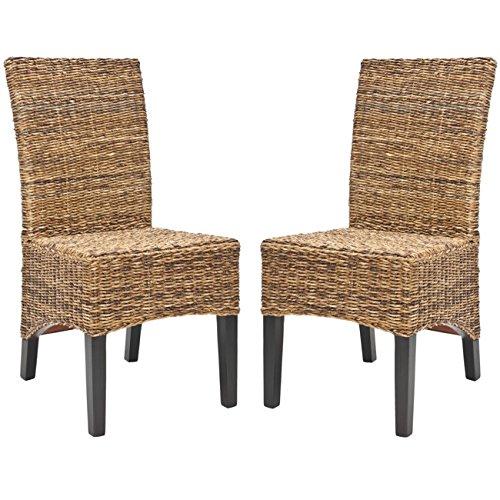 Safavieh FOX6003A-SET2 Home Collection Laguna Side Chair, Set of 2, Brown/Natural (Rattan Parsons Chair)
