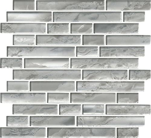 M S International Silver Canvas Interlocking 12 In X 8 Mm Glass Mesh Mounted Mosaic Tile 10 Sq Ft 10 Pieces Per Case