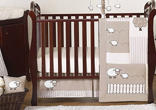 Sweet JoJo Designs 11-Piece Little Lamb, Sheep Animal Farm Baby Boy Girl Unisex Bedding Crib Set Without Bumper - Farm Animal Crib Sets